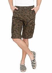 LD Active LTF664 Men's Regular Fit Poly Cotton Shorts - OLIVE
