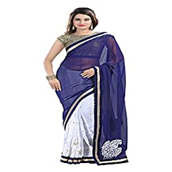 Heart and Arrow women's georgette embroidered sari saree [629_white,blue]