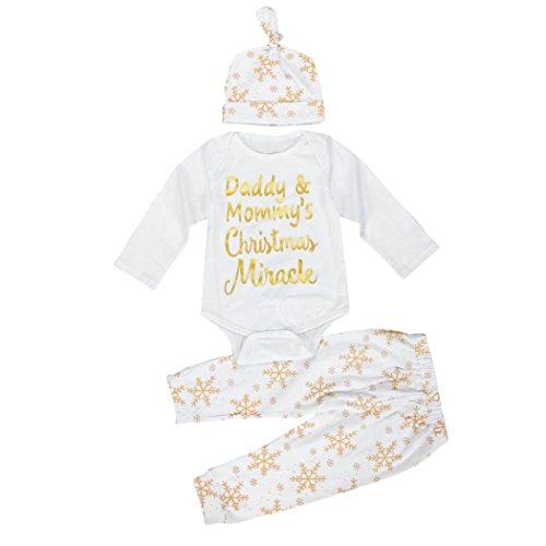 AMA(TM) 3PCS Christmas Baby Boy Girl Snowflake Romper +Pants+Hat Outfits Set (0-3M, A)