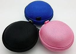Bluecell Black/Blue/Pink Earphone in-ear Hard Case/Bag Pack of 3