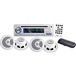 Pyle PLCD8MRKT Complete Marine Water Proof 4 Speaker CD USB Mp3 Combo w  Stereo Cover... by Pyle