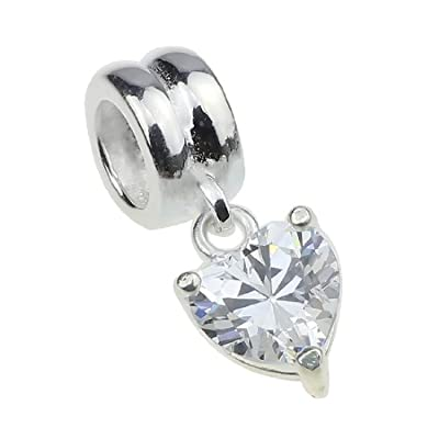 Beads Hunter Jewelry Authentic 925 Sterling Silver Diamond CZ Stone Heart Dangle Charm For European Bracelet