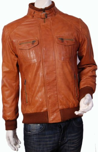 Mens Bomber Leather Jacket-Gents Fitted Leather Jacket-Tan-Tom (L)