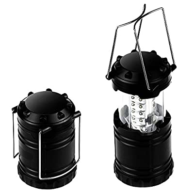 Benga Portable Camping Lantern Flashlights with 30 LED Bulbs - Retractable & Lightweight & Water Resistant Camping Light, Great for Hiking & Camping & Emergencies & Travel, Set of 2, Black