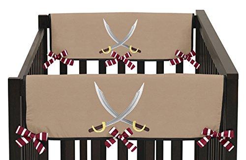 Sweet Jojo Designs Treasure Cove Pirate Teething Protector Cover Wrap Baby Crib Side Rail Guards - Set of 2 (Treasure Island Bumper compare prices)