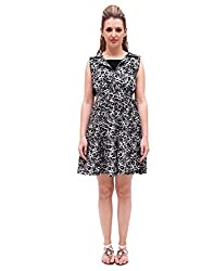 Attention Grabbing cut work design Floral Print Black beige Rayon Casual wear Shirt Collar Sleeveless mini length attire with lining for extra comfort