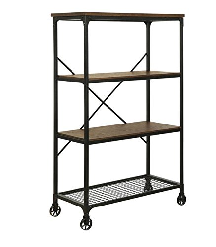 Rolling Bookcase with Fixed Shelves Featuring a Rustic, Industrial, Factory or Urban Look 2