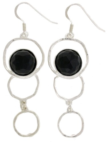 Silver Jewelry Earring SET. Open Circles Drop Earring. Two x 12mm Round Faceted Synthetic Black Onyx. 925 Sterling Silver. Hand Made and Designed in Israel By Bili Silver. Shipped Directly From Tel Aviv, IL in a Gift Box. Great Gift For: Wedding, Bridesmaid, Bat Mitzvah, Engagement, Graduation, Mother's Day, Birthday, Anniversary, Valentine and Other Occasions.