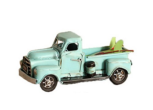 Retro Tin Car Truck Truck Model Handmade Iron Crafts--Blue