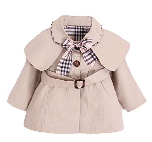 Kids Baby Girl Spring Autumn Trench Coat Fashion Wind Proof Jacket  Khaki 18-24 Months