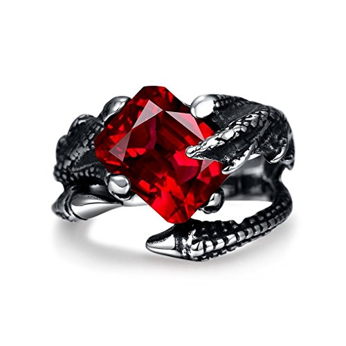 Mens Vintage Black Dragon Claw Gothic Rings 316L Stainless Steel Rock Punk Princess Cut Created Ruby Biker Bands Ring High Polished Size 8 (Mens Stainless Steel Ruby Ring compare prices)