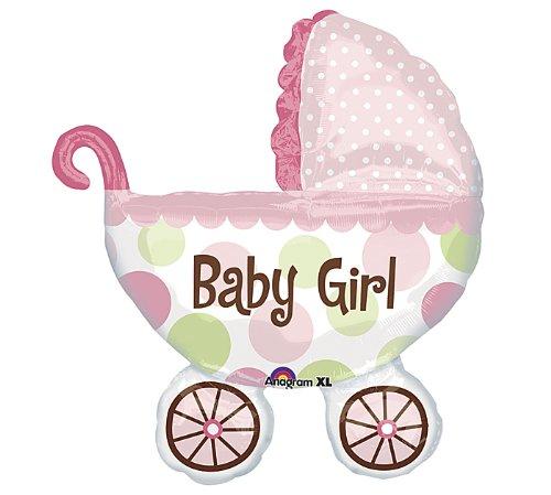 "Baby Girl! Large 31"" Jumbo Baby Buggy Mylar Foil Balloon - Baby Shower"