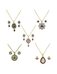 Xcite Combo Of 5 Multicolor Pendant Sets - XPECOMBO4