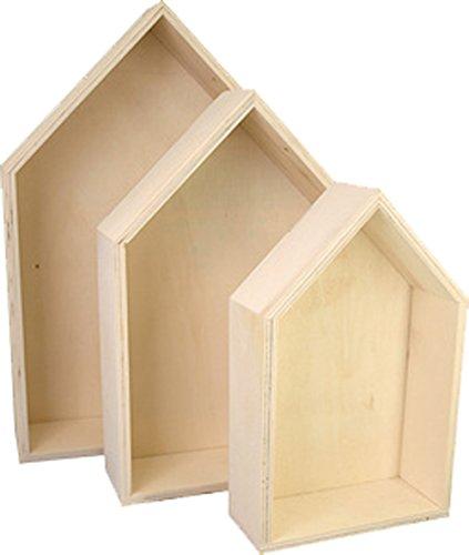 basteln holzbox hausform sperrholz 3er set. Black Bedroom Furniture Sets. Home Design Ideas