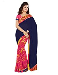 Dlines Royal Blue Georgette Saree