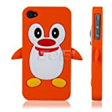 Orange Penguin Protective Silicone Gel Skin Back Case Cover for Apple iPhone 4 4S