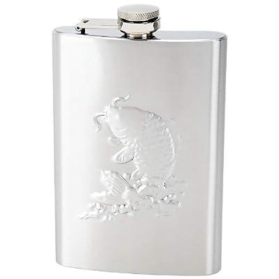 Maxam Embossed 8oz Stainless Steel Liquor Flask with Fishing Scene/Angler gift Flask
