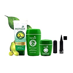 Biotique Whitening & Brightening Cream,Kajal,Face Wash and Lip Balm Combo