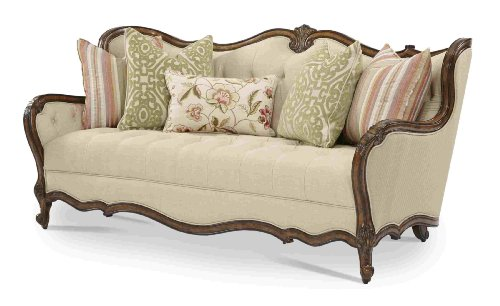 AICO Lavelle Melange Wood Trim Tufted Sofa by Michael Amini (Sofa With Wood Trim compare prices)