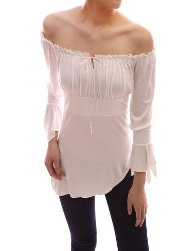 PattyBoutik Cute Off Shoulder Bell Sleeve Blouse Top