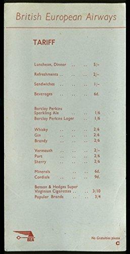 British European Airways Beverage Menu Tariff Card 1950s (British Beverages compare prices)