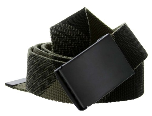 Canvas Military Web Belt Black Metal Buckle Fully Adjustable (Army Green/Black)