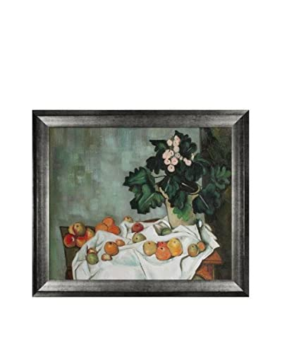 Paul Cezanne's Still Life With Apples & A Pot Of Primroses Framed Hand Painted Oil On Canvas, Multi,...