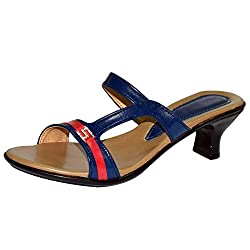 Shoekool Classic Blue & Red Kitten Heel Sandal