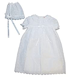 Eyelet Christening Baptism Gown with Ruffle at neck and Slip and Bonnet - 3 Month