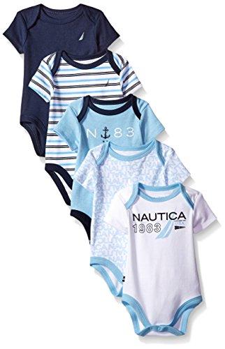 Nautica Baby Boys' Newborn Five-Pack Bodysuits,Assorted Light Blue, 3-6 Months