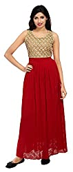 Carrel Imported Georgette Fabric Maroon Colour Free Size Women Polka Dot Embroidery Maxi Dress