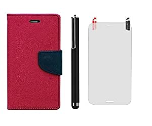 D'clair Combo of Flip Cover with clear Screen Guard and Stylus for Nokia 535 Dark Pink