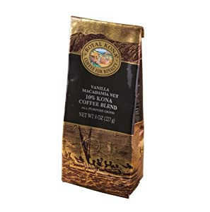 Royal Kona - Vanilla Macadamia Nut - 10% Kona Coffee Blend - All Purpose Grind - 8 Oz. Bag