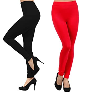 Yelete Premium Heavy Weight Fleece Lined Legging - Many Color (Fits up to size 12, 2 pairs: Black and Red)