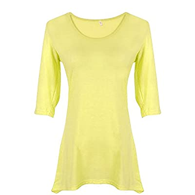 Weixinbuy Women Candy Color Casual Shirt 3/4 Sleeve Blouse