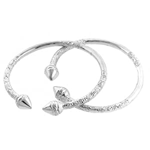 Spear 925 Sterling Silver West Indian Bangles Pair Amazon Com