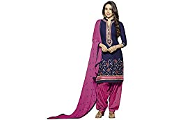Kvsfab Blue & Pink (Crepe Printed) Patiala Suit for Women