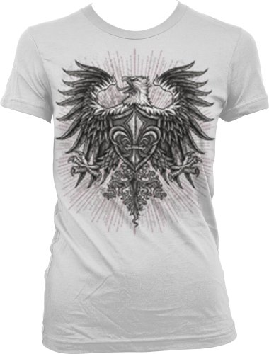 Eagle With Fleur De Lis Shield Juniors Tattoo T-Shirt, Old School Eagle Coat Of Arms Tattoo Juniors Tee, Large, White