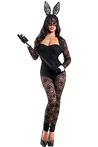[SuperGrowing Sexy Women 4pcs Long Sleeves Lace Bunny Costume (Small, Black) (L)] (Naughty Nun Halloween Costumes)