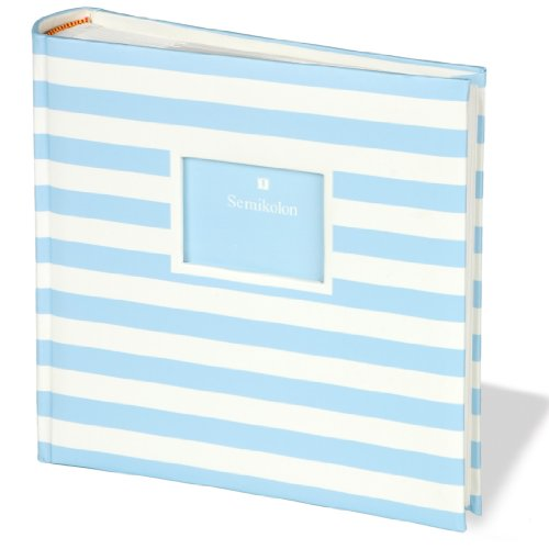 Jumbo Album Baby Blue Medium Stripes +++ 50 sheets photo mounting board beige and glassine sheet protectors +++ PHOTO- AND SCRAPBOOK +++ Quality made by Semikolon - 1