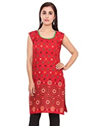 Kurti Studio Womens Excellent Red Printed Jaipuri Cotton Kurti