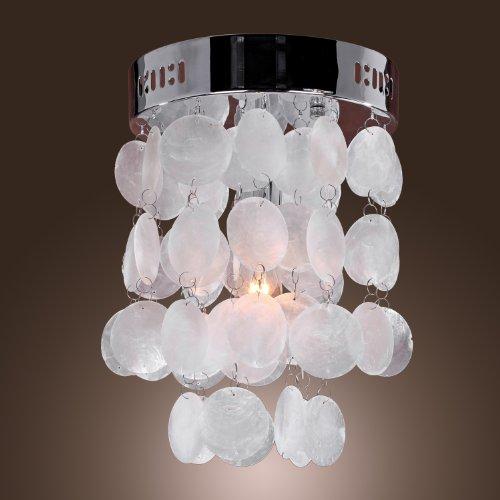 Lightinthebox® Chrome Finish Shell Flush Mount Mini Style Modern Ceiling Light Fixture For Bedroom, Living Room (White Color)