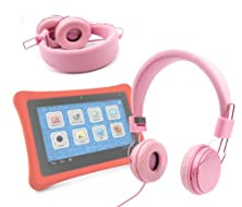 buy Duragadget Pink Stylish Kids Headphones With Button Remote For Fuhu Nabi / Nabi 2 Kids Tablet
