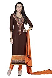 Yeki Kessi Dark Brown & Orange Color Dress Material