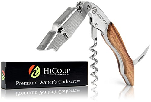 Waiters Corkscrew by HiCoup - Premium Rosewood All-in-one Corkscrew, Bottle Opener and Foil Cutter