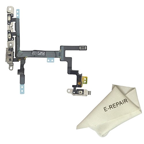 Power Volume Buttons Silent Switch Flex Cable with Brackets Preinstalled for Iphone 5
