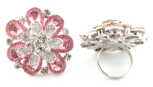 Stylish Ladies Pink Three Layered Flower Metal Adjustable Finger Ring