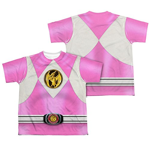 Mighty Morphin Power Rangers Pink Ranger Emblem Costume - All Over Youth Front / Back T-Shirt