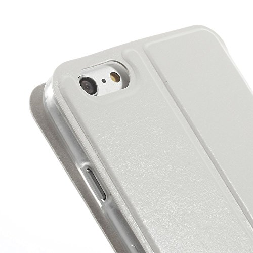 JUJEO Full Window View Leather Stand Cover for iPhone 6 Plus - Non-Retail Packaging - White
