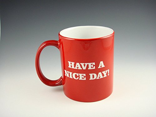 Airblasters Red Have A Nice Day Coffee Mug Middle Finger Funny Cup 100% ceramic (Finger Coffee Cup compare prices)